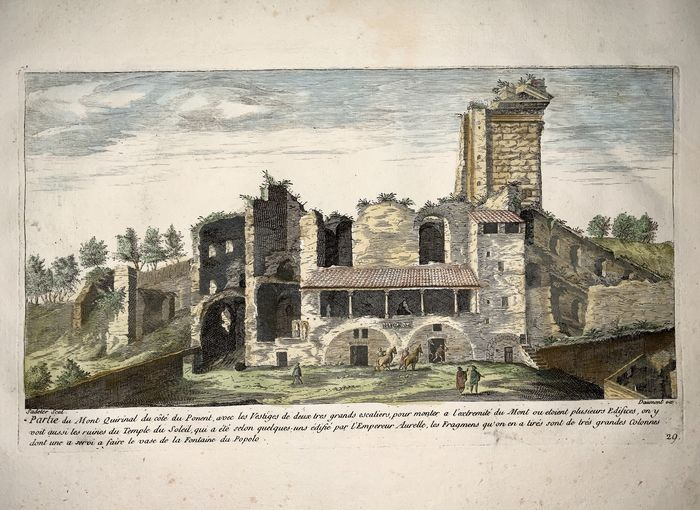 Marco Sadeler (1614 - 1660); Daumont ex - 'Mont Quirinal', View of ruins atop Quirinal Hill - Rome, Italy - Rare French Edition c 1660