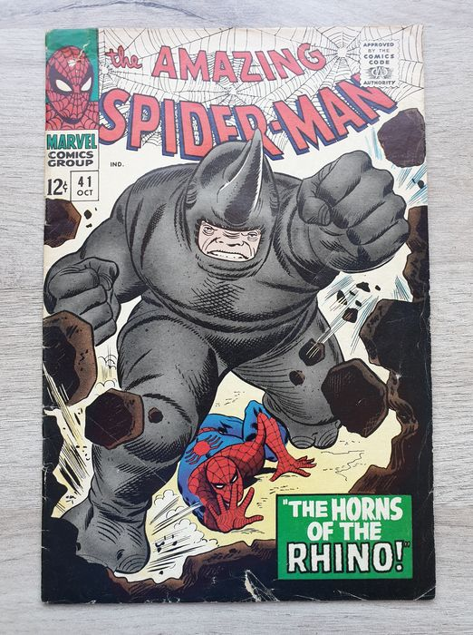Spiderman Vol. 1 #41 - Mid Grade - 1st appearance of the Rhino by Stan Lee, John Romita Sr. & Mike Demeo - Geniet - Eerste druk - (1966)