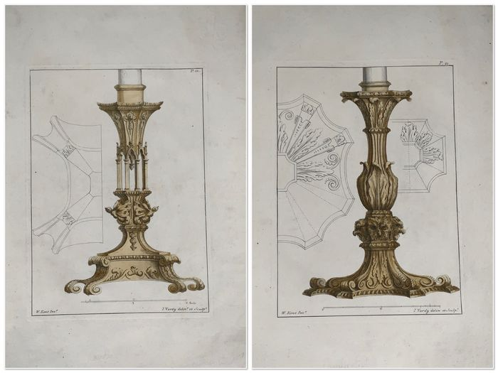 2 engravings after Indigo Jones (1573-1652) after; William Kent (1684-1748) after; by John Vardy - Large folio - Pair of Candlesticks - 1744