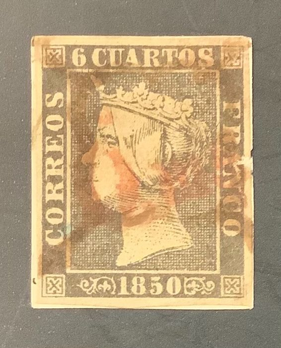 Spain 1850 - 6 cuartos black. Red spider-type postmark +6ms from Barcelona - Edifil 1