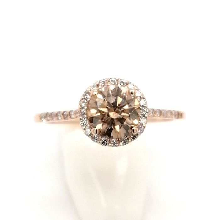 Roségold - 14k ring with natural fancy brown 1.23ct ***no reserve price*