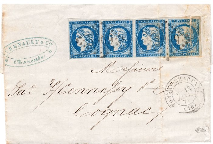 France 1871 - No. 44, strip of 4. - Yvert 44