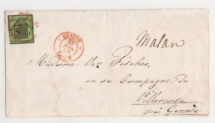 "Zwitserland - so-called ""Large Eagle"" on letter front, cancelled with LOCAL DAY STAMP - Zumstein Nr. 6; Michel Nr. 4"