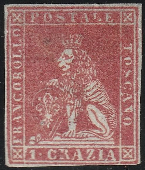 Italian Ancient States - Tuscany 1851 - 1st issue 1 cr. carmine with nice margins, new, very rare and certified - Sassone N.4d