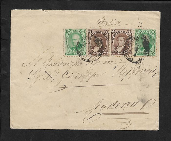 Argentina 1889 - Cent. 2 x2 + cent. 4 x2 on envelope for Modena