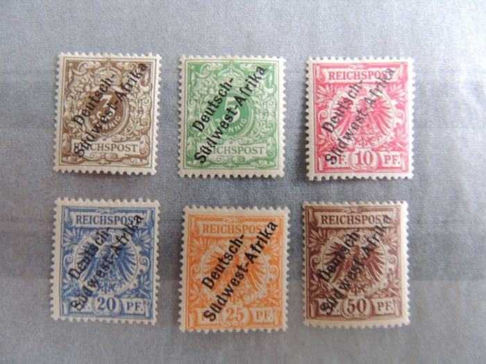 Duits Zuid-West-Afrika 1898 - Complete series of crests including 25 & 50 pfennigs, signed. - Michel 5/10