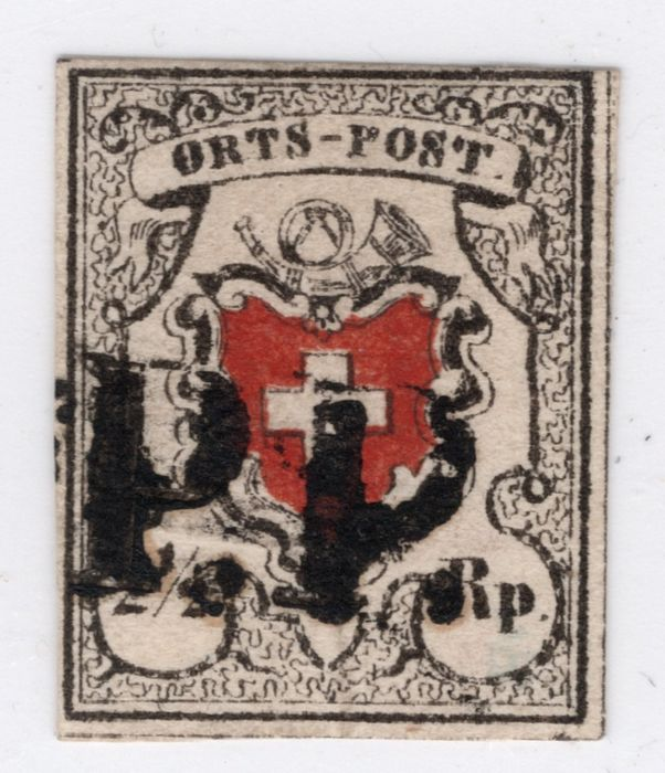 "Switzerland 1850 - so-called ORTSPOST (local post), deep black, with ""PP"" in black - Zumstein Nr. 13I; Michel Nr. 5Ia"