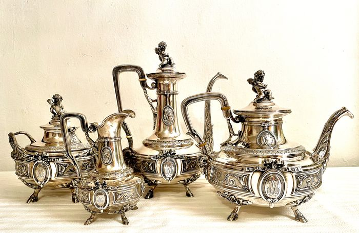 Coffee and tea service (4) - .950 silver - Emile Hugo - France - Second half 19th century