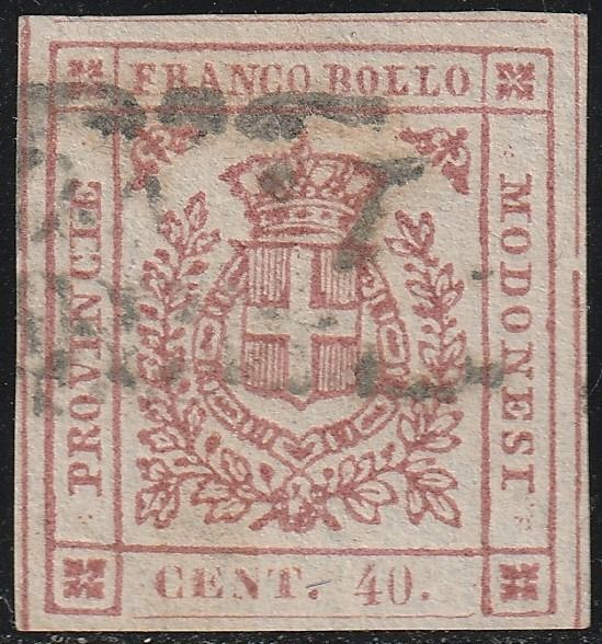 Italian Ancient States - Modena 1859 - Provisional Government 40 c. carmine pink with very good margins, rare and certified - Bolaffi N.17