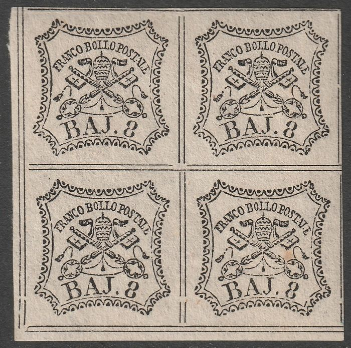 Italienische antike Staaten - Kirchenstaat 1852 - 1st issue 8 b. block of four sheet corner with very good margins, full gum, rare and certified - Bolaffi N.9