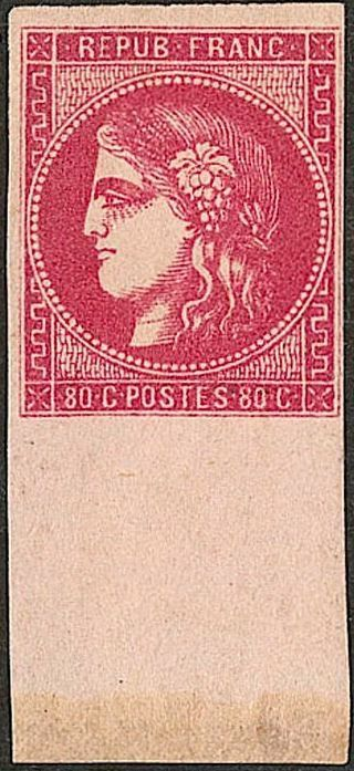 Frankrijk 1870 - Bordeaux issue - 80 centimes bright pink, sheet margin, Roumet certificate - Yvert n°49b