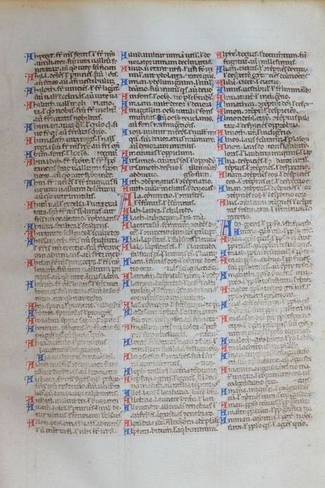 Bijbel - Manuscript; Original bible sheet from the 13th century - 1250