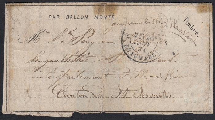 "Frankreich 1871 - Balloon mail, probably ""Le Richard Wallace"", large front of letter."