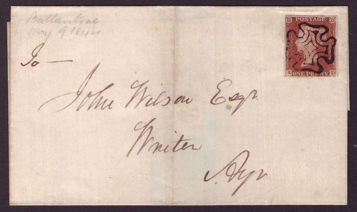 Great Britain 1844 - 1d red-brown on entire - Stanley Gibbons 8, pl.34