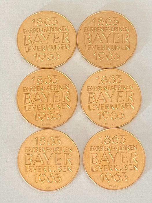 Germany, Federal Republic. Gold medal 1963, 'Centennial of Bayer Company', 6 Pieces