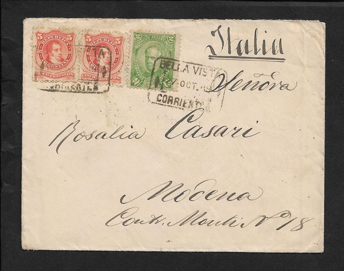 Argentinië 1889 - Correo Argentino cents 2 + Rep. of Argentina cents 5 x 2 on envelope to Modena.
