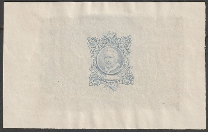 Italian Ancient States - Papal State 1868 - Delpierre Pius IX specimen stamp on light blue India paper, very good margins, very rare and - Bolaffi N.S45