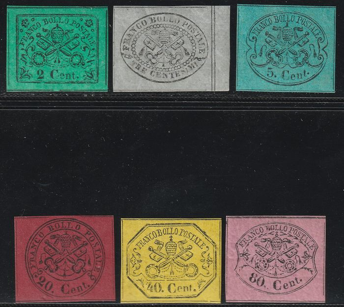 Italian Ancient States - Papal State 1867 - 2nd issue Set of 6 values 2+3+5+20+40+80 c. with very good margins, intact, luxury, very rare, 2 - Sassone NN.13+15+16+18/20