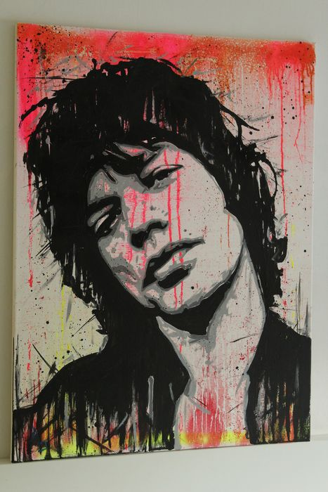 Mick Jagger & Related, Rolling Stones, Vincent Mink  Artwork / painting, Vincent Mink 80x60x2 cm - Artwork / painting, acrylic on canvas on - Artwork/ Painting - 2021/2021
