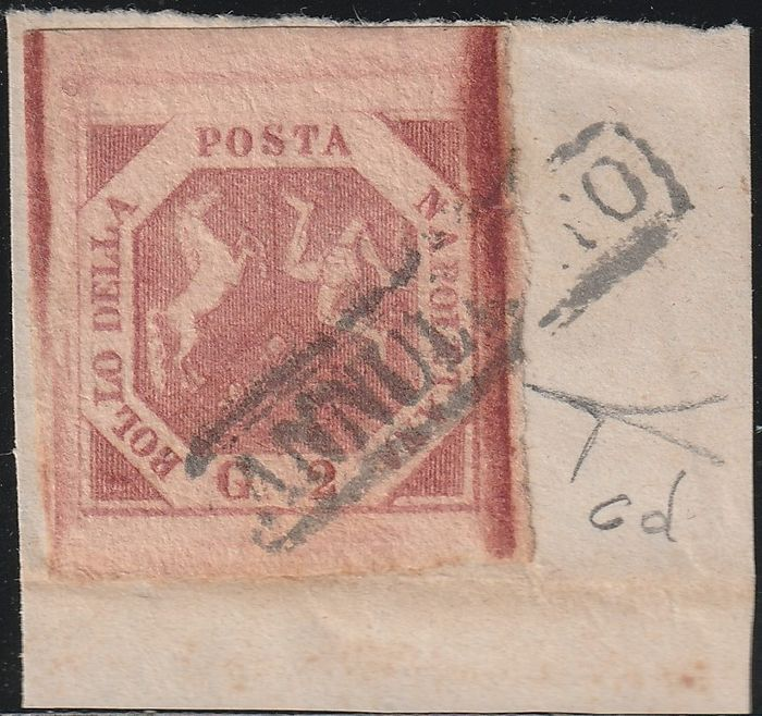 Italian Ancient States - Naples 1859 - 2nd plate 2 gr brick carmine, huge margins, on fragment, very rare and certified - Bolaffi N.6d