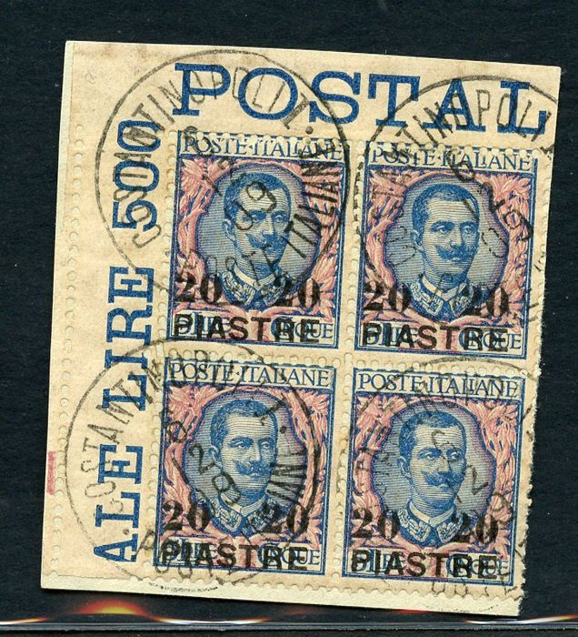 Levant 1908 - Constantinople - 20 pi on 5 lire, 2nd local issue, block of four on fragment - Sassone N. 17