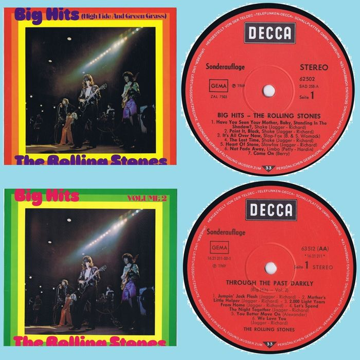 Rolling Stones - 1. Big Hits (High Tide And Green Grass) 2. Big Hits Volume 2 (Get Yer Ya-Ya's Out!) - Multiple titles - LP's - 1969/1971