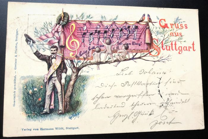 Württemberg 1896 - Private postal stationery Sängerfest 1896 Lithograph greeting from Stuttgart with special