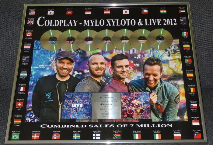 Coldplay - Huge Mylo Xyloto and Live 2012 to Will Champion Platinum Record 7 million sales - Official Award - 2013