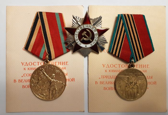Russia - Army/Infantry - Medal, Soviet Russia-Order of the Great Patriotic War -Made of Sterling silver number 1813708 and Soviet