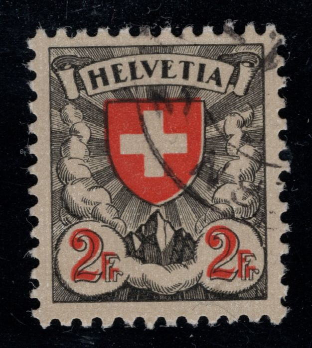 "Zwitserland 1933/1934 - Two coat-of-arms designs with CURIOSITIES: Shifted red print and ""F"" instead of first ""E"" in - Zumstein Nr. 166z.1.09 und Nr. 164.Pf"