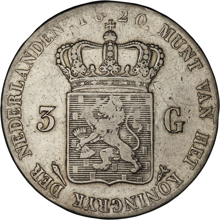 Netherlands. Willem I (1813-1840). 3 Gulden 1820 Utrecht
