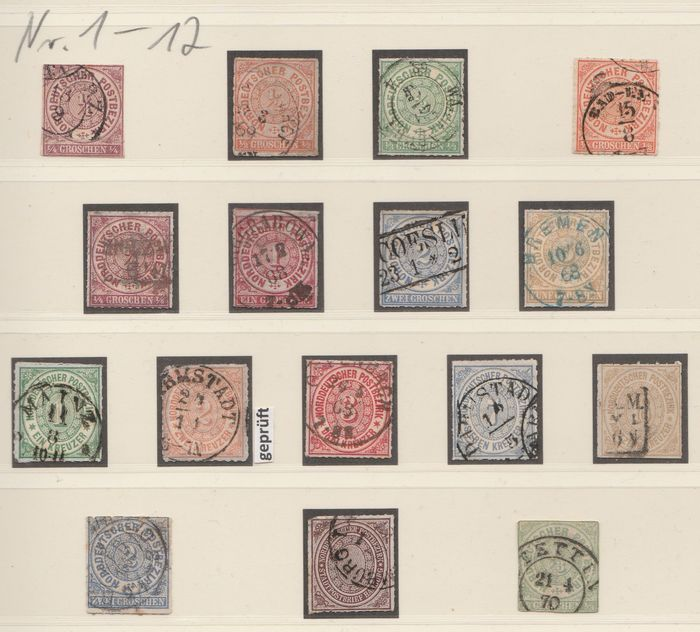 North German Postal Area 1868/1870 - complete collection with 4 certified values - Michel 1 - 26