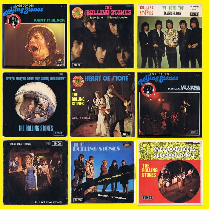 "Rolling Stones - Lot of 9 French 7"" 45 Rpm Singles w/ Picture sleeve - French Pressings - Multiple titles - 45 rpm Single - 1966/1975"
