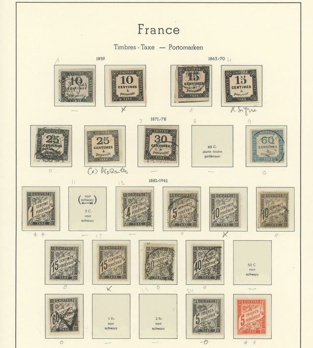 Frankrijk 1859/1960 - A lovely set of old and semi-modern tax and training course stamps, cancelled and specimens. Value: - Yvert Entre les n°1 et 94 + cours d'instruction
