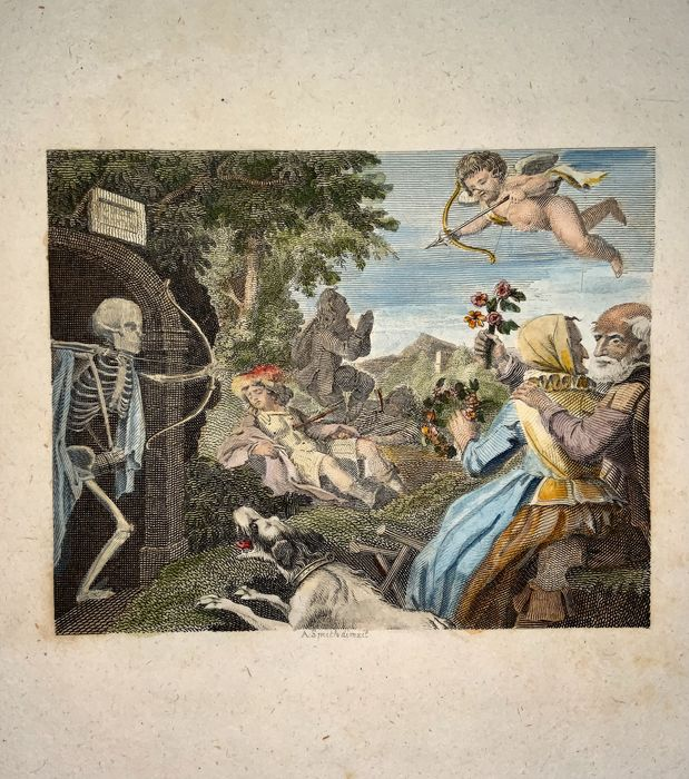 Lot of 2 rare Memento Mori engravings after A. Smith (active mid to late 18th Century) - Death and the Forester & Death with Cupid's - Both hand coloured.