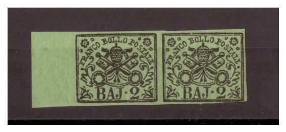 Italian Ancient States - Papal State 1852 - 2 baj verde oliva, coppia orizzontale - Sassone N. 3