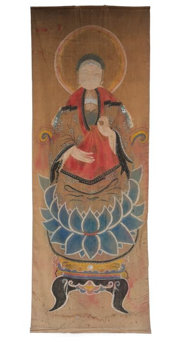Schilderij - Katoen - Boeddha - Large and authentic polychrome Chinese painting depicting the buddha on a lotus throne - China - Begin 20e eeuw