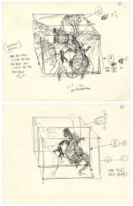 Pete's Dragon - 2 Original production drawings - Ken Anderson - Unique copy - (1977)