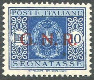 """Italië CSR 1944 - Postage due 10 lire Verona issue, variety with """"small dot"""" after the """"G"""". - Sassone N. 58dgb"""