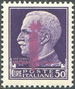 Italy 1944 - RSI L. 50 with Florence fasces overprint in lilac. - Sassone N. 500