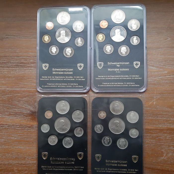 Suiza. 4 Coin Sets 1979-1982