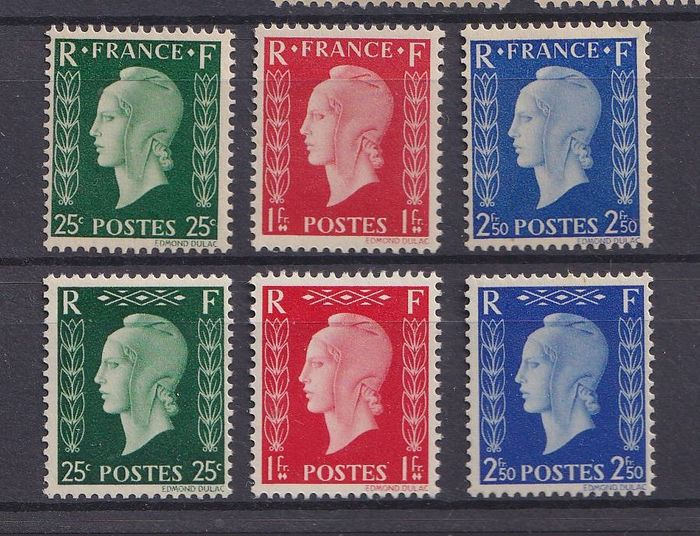 Frankrijk 1945 - Marianne by Dulac, the 6 unissued stamps - Yvert 701 A/F