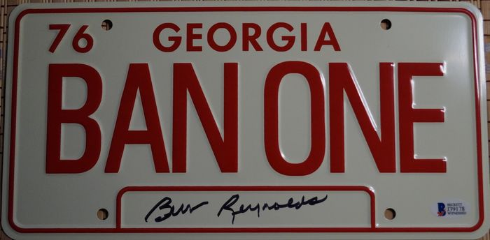 """Smokey and the Bandit - Burt Reynolds (+) - Hand signed """"BAN ONE"""" License Plate - with COA from Beckett"""