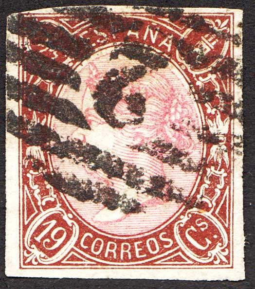Spain 1865 - Isabel II, 19 cuartos. Gridded numbered 2 from Barcelona.