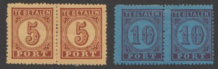 Netherlands 1870 - Postage due stamp, large denomination, in pairs - NVPH P1AA + P2A