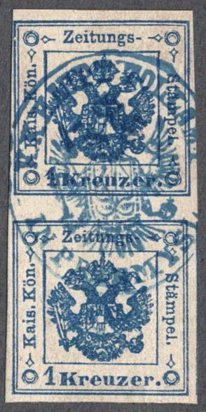 "Austria - Austria, 1858/59, no 2 I type 1, (so-called ""Provisorium""), vertical pair"