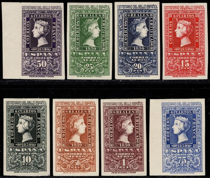 Spain 1950 - Centennial of the First Spanish Stamp. Complete set. Unhinged - Edifil 1075/1082