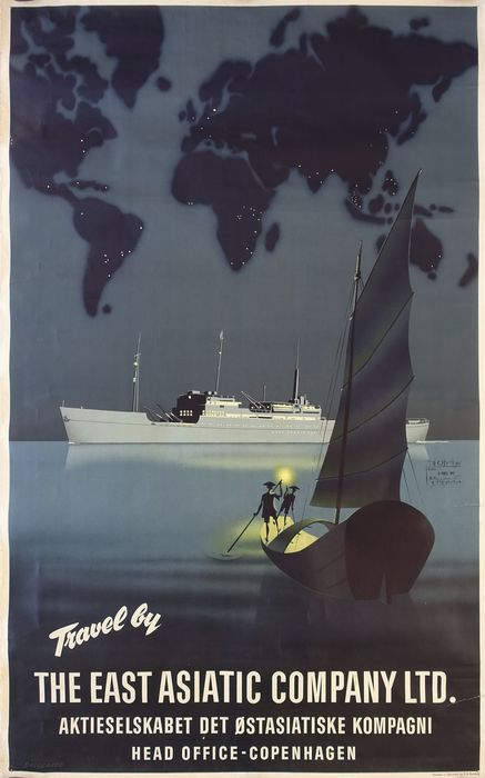 Valdemar Dalsgaard Larsen - Travel by The East Asiatic Company - Travel Poster - 1932