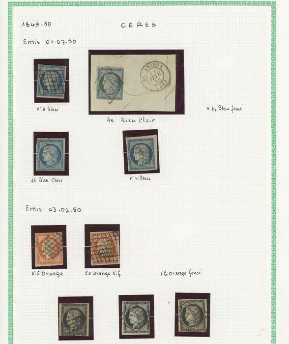 France 1849/1860 - Set of classic Ceres and Napoleon stamps, first issues, including signed ones. Value: over 15,000 - Yvert Entre les n°2 et 18
