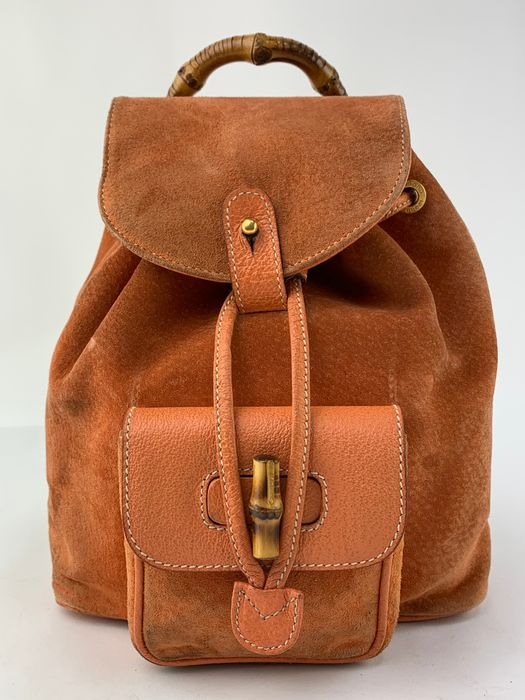 Gucci - Bamboo handle Orange Suede Backpack